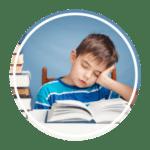 wellness orthodontics sleeping child with books